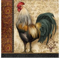 French Rooster I Wall Art, Canvas Prints, Framed Prints, Wall Peels | Great Big Canvas Rooster Painting, Rooster Art, Rooster Decor, Tole Painting, Chicken Painting, Chicken Art, Decoupage Vintage, Chicken Images, Images Vintage