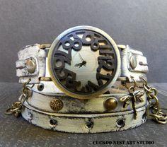 Leather watch Distressed Wrap around Watch by CuckooNestArtStudio