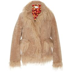 Saks Potts     Jimi Cleome Mongolian Fur Trim Coat ($940) ❤ liked on Polyvore featuring outerwear, coats, tan, lapel coat, fur trim coat, tan coat and beige coat