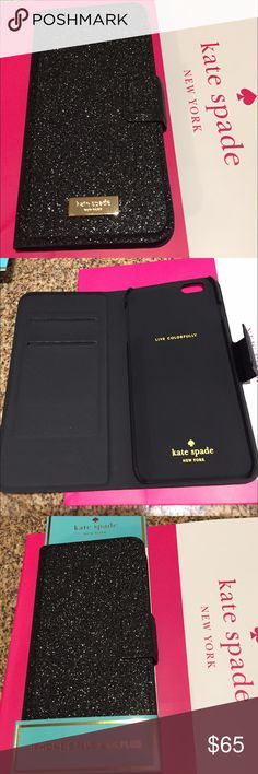 Kate Spade GLITTER wrap Folio case IPHONE 6 PLUS New, never used Black Glitter wrap folio case fits your IPHONE 6 PLUS. Excellent protective case with magnetic closure for added security for your phone. Inside has two card slots for ID and credit card. The glitter does not rub off.  kate spade Accessories Phone Cases