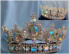 full round crowns   ... unisex rhinestone Gold full Clear Aurora Borealis Royal Premium Crown