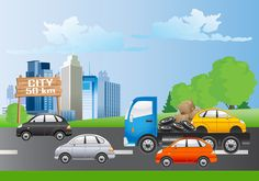 Digitally generated image of cars and truck moving towards city #Clipart #City