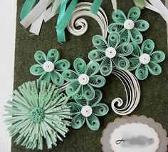 Lovely quilled green flowers
