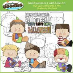 Kids Costumes 1 Clip Art with Line Art