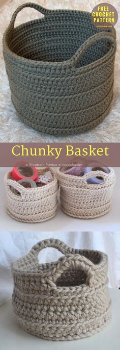 """#ChunkyCrochet #Basket #FreePattern #Containers. Measures approx. 32"""" × 38"""". Written in US Terms. Level: Beginner (Up.). yarn: Lion Brand Wool-Ease Thick & Quick Solids / Super Bulky (5-6 wpi) Hook: 8.0 mm (L). Author: Elizabeth Pardue"""