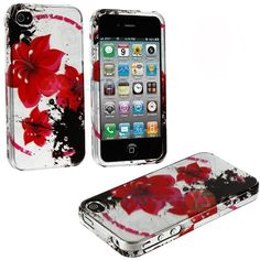 myLife Red + Black Tropical Flowers Series (2 Piece Snap On) Hardshell Plates Case for the iPhone 4/4S (4G) 4th Generation Touch Phone (Clip...
