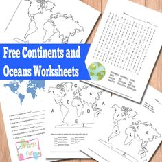 Geography for kids: Continents and Oceans Worksheets (Free Printable) Geography Activities, Geography Lessons, Teaching Geography, Teaching History, History Education, 3rd Grade Social Studies, Teaching Social Studies, Fun Learning, Learning Activities