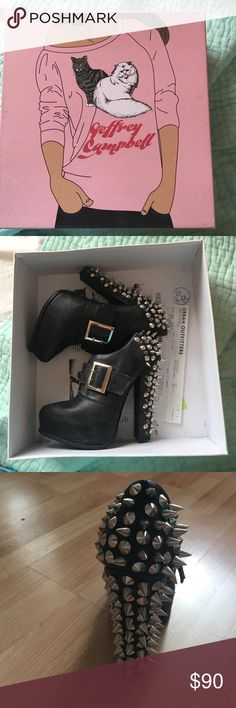 💕JC Drexel spike heel bnwb / receipt High high heels from Jeffrey Campbell. Never worn in original box still have the receipt from urban outfitters. Cooler alternative to Lita. No spikes missing. Size 6 Jeffrey Campbell Shoes Heels