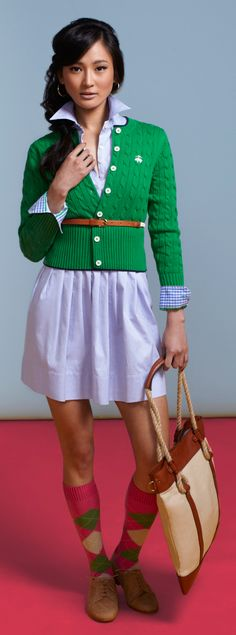 Preppy-collared shirt dress, green brooks brothers cardigan, brown belt