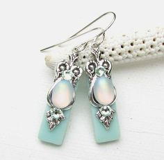 Icy Seafoam Stained Glass Earrings on Etsy, $14.00