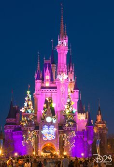 Tokyo Disneyland's Cinderella Castle glows brightly at night with the newly added 30th-anniversary decorations.