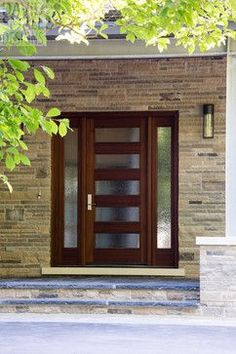 Door Design Ideas bathroom door design ideas Front Doors With Glass Designs And Ideas Contemporary Wooden Front Door With Glass Designs Also Stone Bricks Wall Material Also Modern Exterior Wall Light