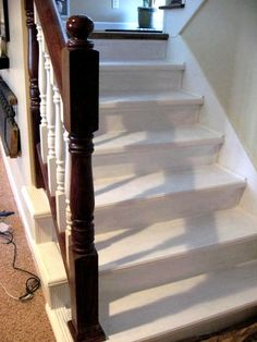 how to refinish interior stairs.Good Pin. Lots of tips for less than perfect stairs. Clever use of molding to hide problem areas.