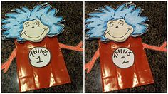 FREE Printable Thing 1 & 2 paper bag puppets Dr. #Seuss #Craft
