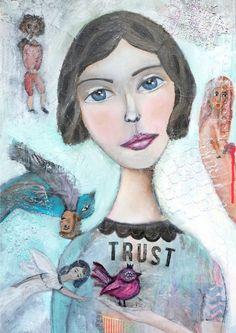 Modernes Original Gemälde von Chagall inspiriert von MissLillemor