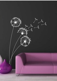 Living Room Wall Decals- A Modern Touch – Dekoration Ideen Dandelion Wall Decal, Wall Murals, Wall Art, Chalk Wall, Chalkboard Art, Interior Walls, Wall Colors, Diy Wall, Wall Design