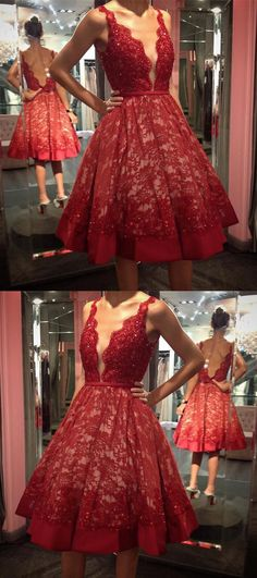 A-Line Dresses,Deep V-Neck Dresses,Backless Dresses,Burgundy Dresses,Lace Dresses,Beaded Dresses,Homecoming Dresses 2017