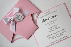 Baby Shower Diaper Invitation Girl Pink Custom por CraftedbyLizC