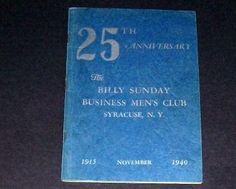 Billy Sunday's Tabernacle 25th Anniversary Book 1940