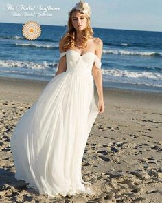 Soft, flowing layers of chiffon envelop you in this gorgeous boho-chic beach wedding gown. The sweetheart neckline is cross ruched and tucked chiffon that acce