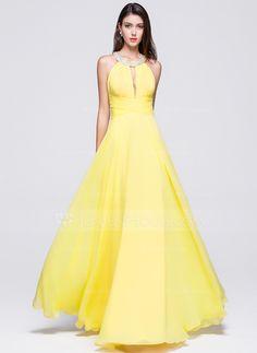 477f8cc859f [US$ 133.34] A-Line/Princess Scoop Neck Floor-Length Chiffon Prom Dresses  With Ruffle Beading Sequins - JenJenHouse