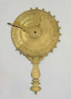 Nocturnal, 17th century Florence, Istituto e Museo di Storia della Scienza, inv. 2494  This portable instrument was used to calculate the nighttime hour by measuring the angular distance between the Pole Star and a star, corresponding to the month in the year.