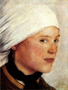Bauernmädchen mit weißem Kopftuch - Wilhelm Leibl