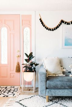 pink door. garland. rugs