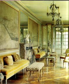 Interior of her house in Versailles. Love everything about this room.