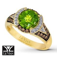 Peridot Ring 1/4 ct tw Diamonds 14K Honey Gold™