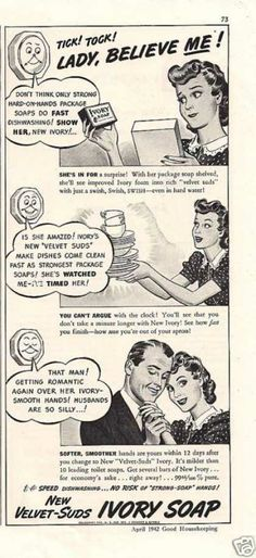 """1942.""""That Man! Getting Romantic Again Over Her Ivory-Smooth Hands!  Husbands Are So Silly...!"""""""