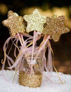Princess Wands Star Wands Pink and Gold Wooden Set of 5