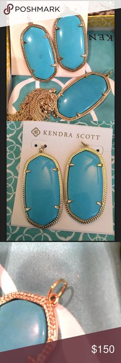 """Kendra Scott Turquoise Danielle's & Rayne Bottom Kendra Scott Turquoise Danielle Earrings & Rayne Bottom See Jump Ring NWOT The bright turquoise blue stones of our Danielle earrings are a signature Kendra Scott statement, with an effortless elegance and colorful flair. DETAILS •14K Gold Plated Over Brass •Size: 1.89""""L X 1""""W on earwire •Material: turquoise magnesite* Necklace  Simply open the jump ring and put it on an existing chain! Kendra Scott Jewelry"""