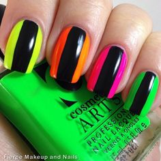 Cute Nail Designs For Spring – Your Beautiful Nails Colored Acrylic Nails, Neon Nail Art, Neon Nails, Nail Art Diy, Love Nails, Diy Nails, How To Do Nails, Pretty Nails, Manicure