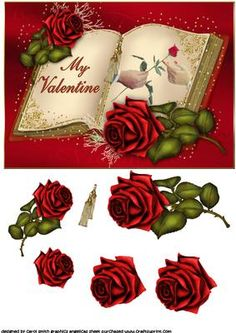Open book roses for my valentine on Craftsuprint - Add To Basket!