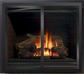 Regency Panorama® P36 Gas Fireplace Finished with Inlay Door in Black Chrome
