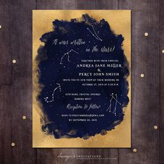 Constellation Wedding Invitation, Gold and Navy Wedding Invitation, Starry Night Invitation, Star Invite, Printable Wedding Invitation
