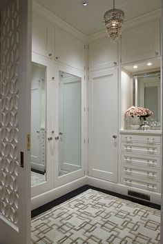 * Closet | Pocket Door  _ Love that there are doors on the closets in the dressing room.