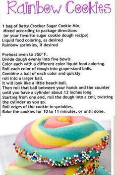 Rainbow Cookies I'm so making these in the childrens summer holidays. Cookie Dough Recipes, Sugar Cookie Dough, Sugar Cookies, Baking Recipes, Just Desserts, Delicious Desserts, Dessert Recipes, Cookie Decorating, The Best