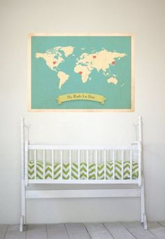 """""""My Roots Live Here"""" world map with heart stickers to place on parent hometowns/states/countries... love this for a nursery!"""