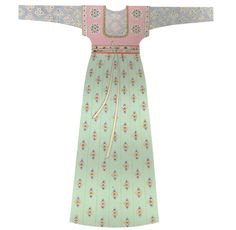Tang Dynasty. Short-sleeved upper garment with low-cut collar over jacket and skirt. 128 cm sleeve span and 144 cm length. Reconstruction based on unearthed pottery figurines. [Figure 156 in 5000 Years of Chinese Costume.]