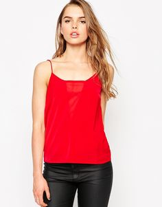 Top by Vero Moda Lightweight woven Semi-sheer insert to the centre front and reverse Slim straps Regular fit - true to size Machine wash 100% Polyester Our model wears a UK S/EU S/US XS