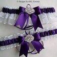 Rhinestone Charm Wedding Garters Plum Purple and White Garter Set   DesignsbyKKLForever - Wedding on ArtFire  #Bridal #Wedding #Garters #Belts