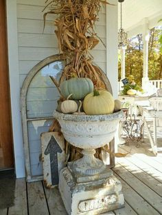 Fall - shabby chic style.  like the very pale colors of pumpkins
