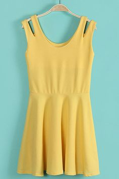 Yellow Sleeveless--snip a slit in a thick tank...