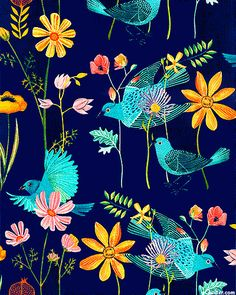 Alegria - Blue Birds - Navy - 100% ORGANIC COTTON