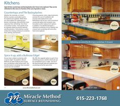 Countertop refinishing will typically save homeowners 30% to 50% over total replacement costs. Most all tile, cultured marble, Corian, Formica, Wilsonart and other laminate countertops can be refinished. #miraclemethod