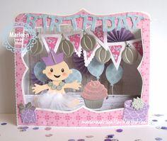 Marianne Design Blog: In de 'Spotlight': de box card Diorama, Fancy Fold Cards, Folded Cards, Kids Cards, Baby Cards, Pop Up Frame, Babyshower, Tarjetas Pop Up, Marianne Design Cards