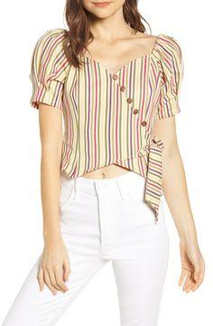 Women's Moon River Stripe Button Detail Wrap Crop Top, Size X-Small - Beige Moda Junior, Cotton Dresses Online, Myanmar Dress Design, Stylish Summer Outfits, Designs For Dresses, Trendy Tops, Blouse Designs, Ideias Fashion, Moon River