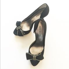 Nine West black satin platform pumps/shoes Worn only 2 hours. In very good condition. Black satin. Very classic and stylish. Can go with jeans or dresses. Size 37.5. No box. Nine West Shoes Heels
